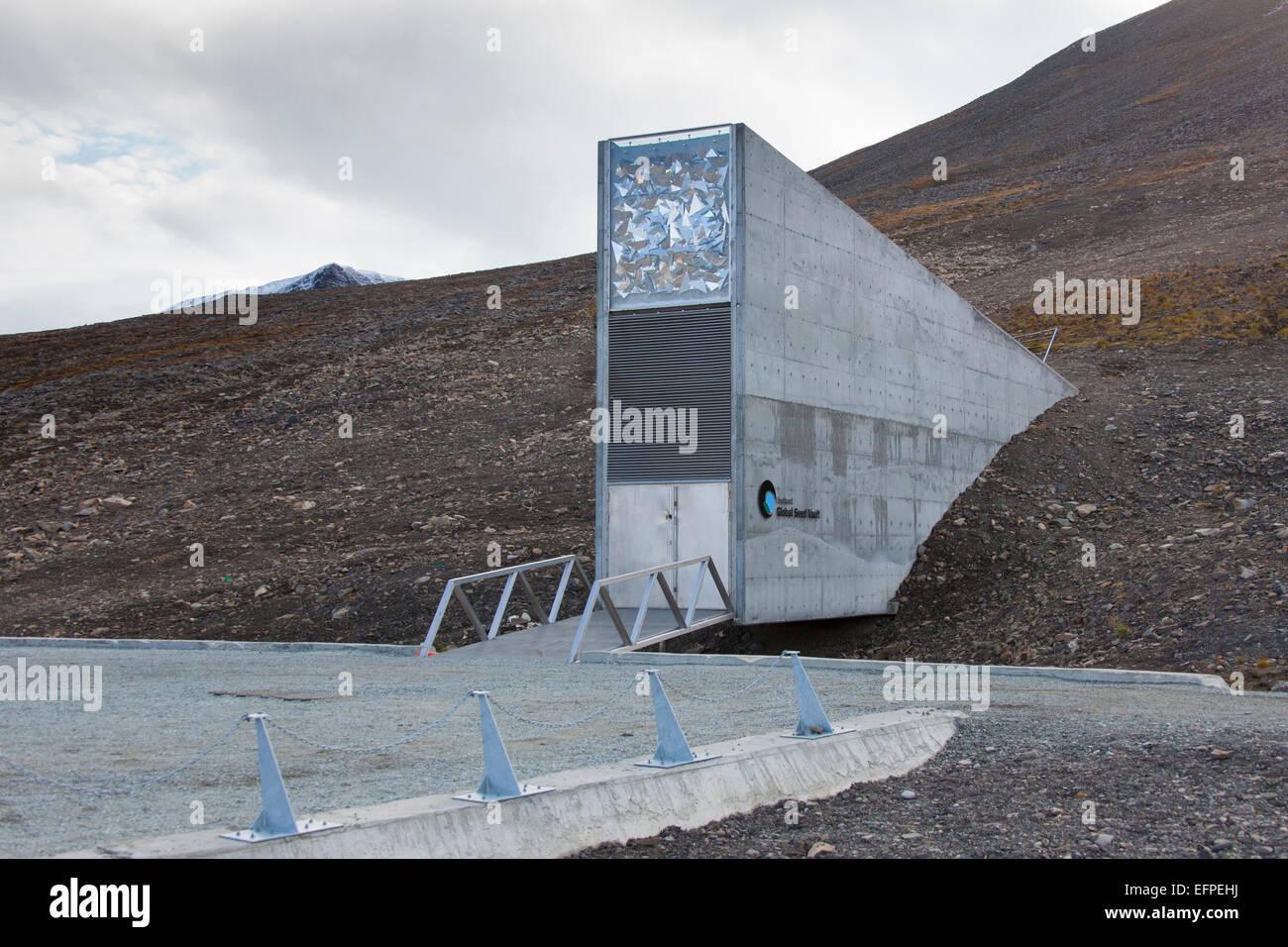 Entrance Svalbard Global Seed Vault largest seedbank wordwide Svalbard Norway - Stock Image