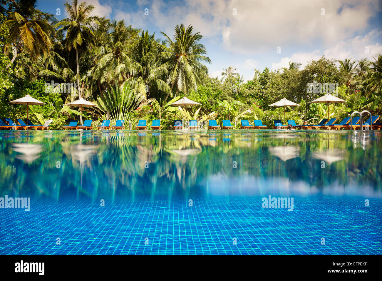 Tropical swimming pool views over the water and under water. Maldives. - Stock Image