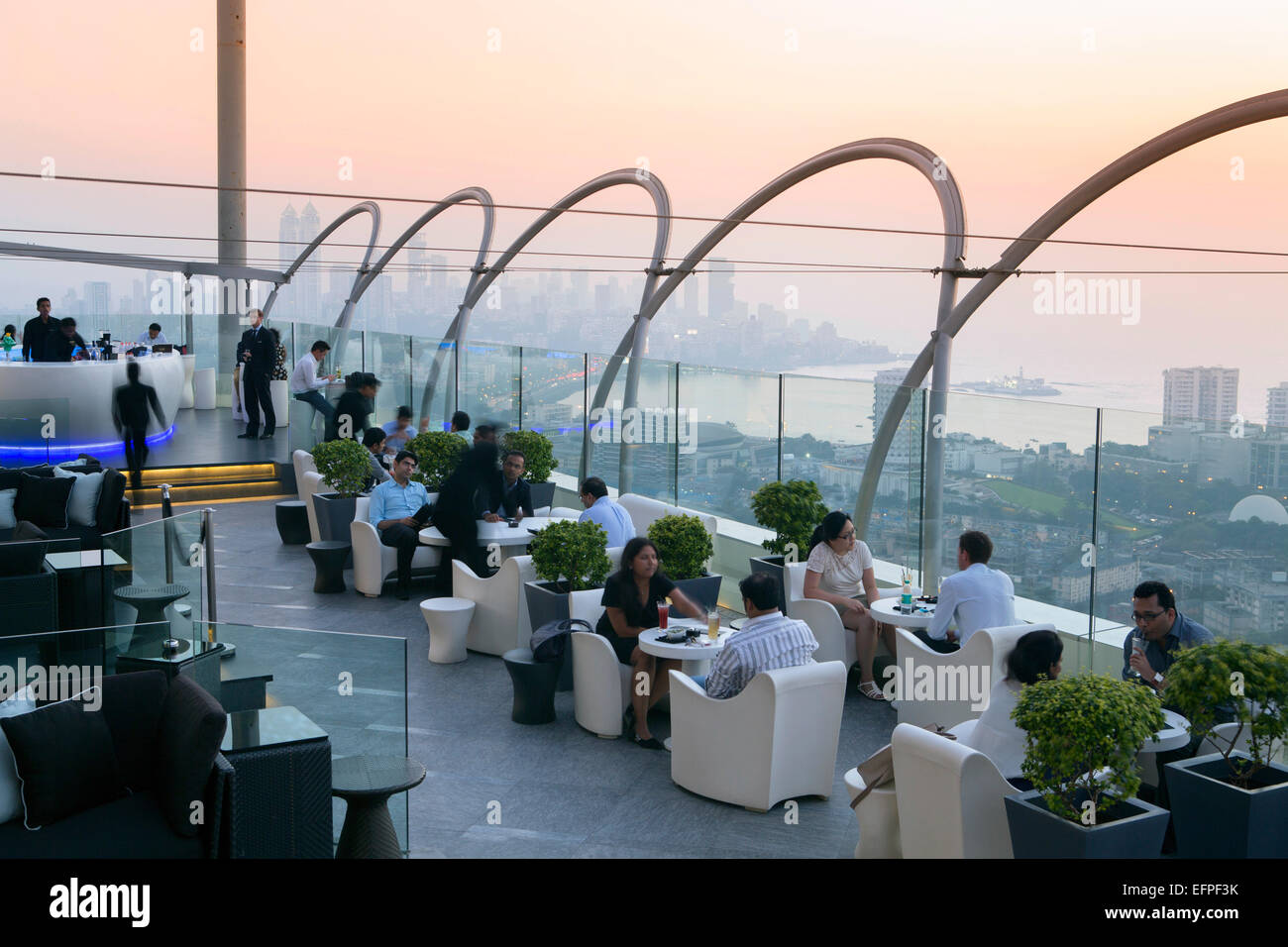 Aer, the rooftop restaurant and bar at the Four Seasons Hotel, Mumbai, Maharashtra, India, Asia - Stock Image