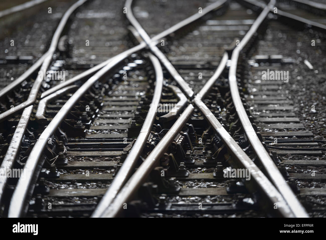 Close up detail of railway line - Stock Image