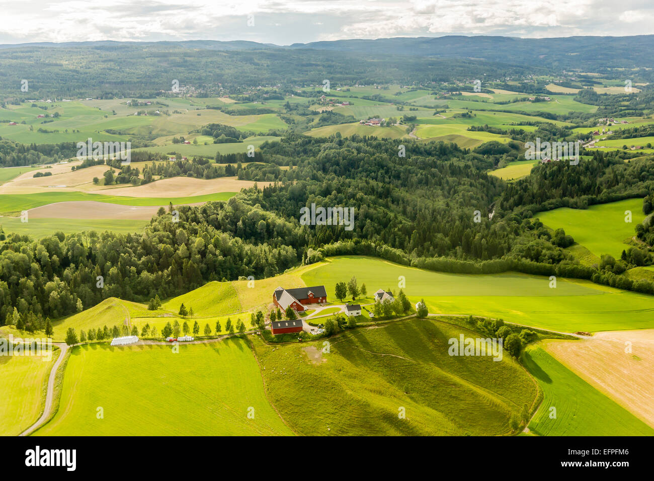 Aerial view of farmland surrounding Oslo taken on a commercial flight to Oslo, Norway, Scandinavia, Europe - Stock Image