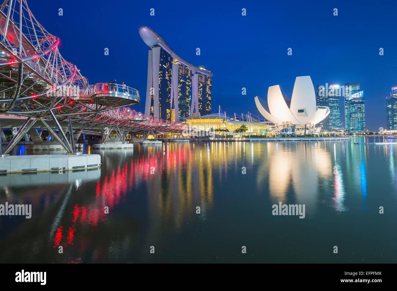 Marina Bay at night, Singapore, Southeast Asia, Asia - Stock Image