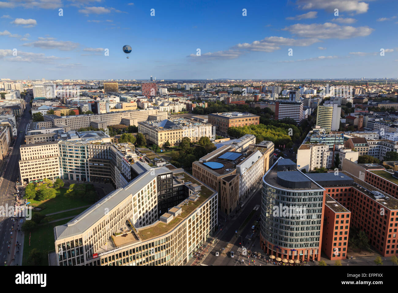 Elevated view, Hi-Flyer over Leipziger Strasse to Stresemannstrasse area, from Panoramapunkt, Potsdamer Platz, Berlin, - Stock Image