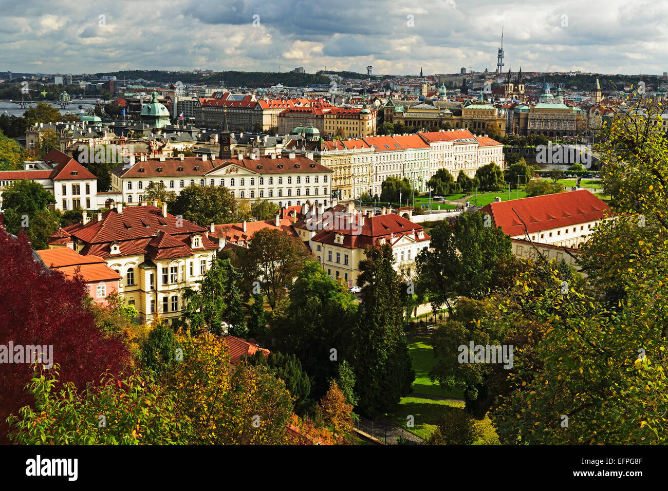 View of Prague from Prague castle, Czech Republic, Europe - Stock Image