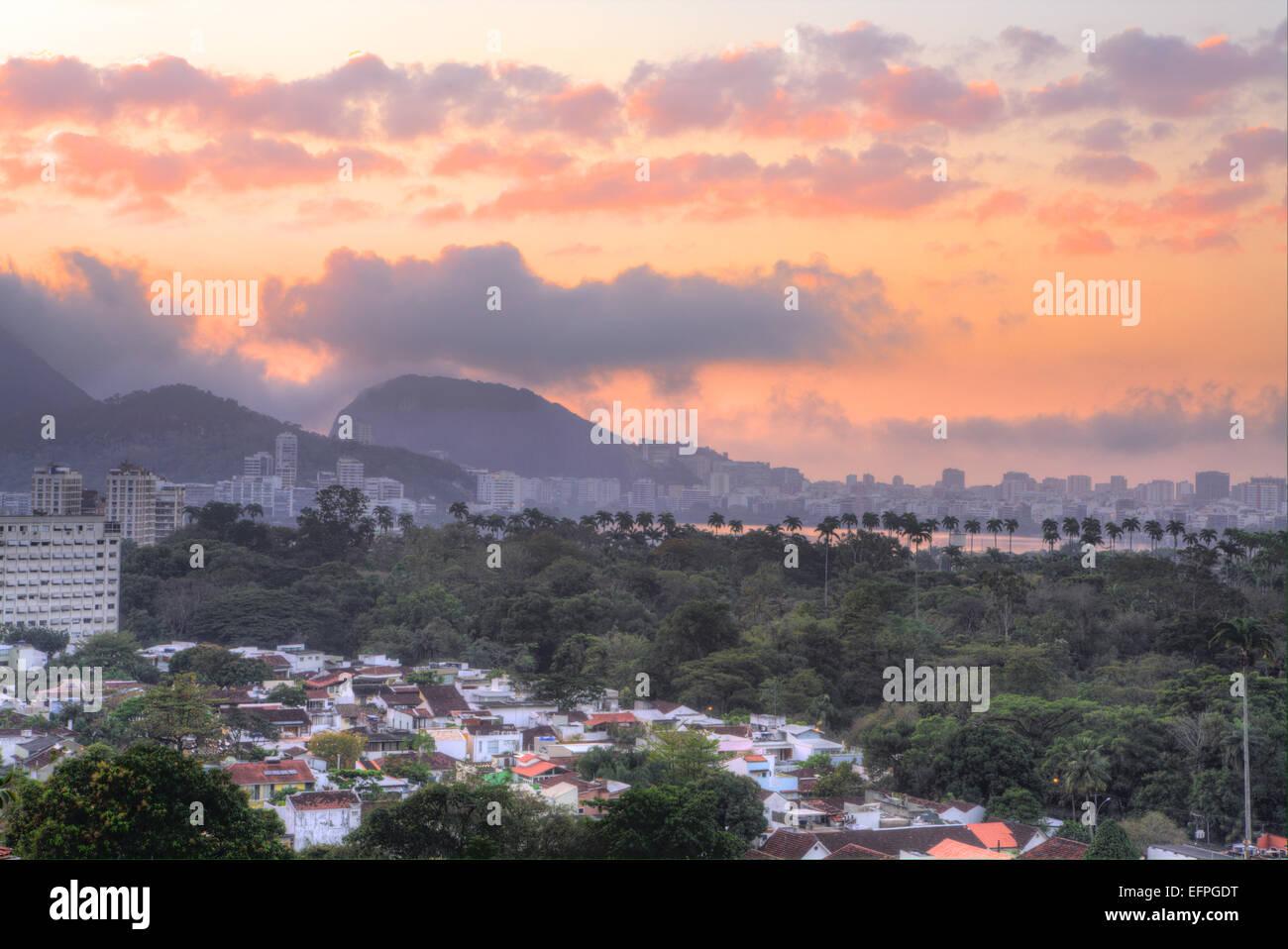 View of Rodrigo de Freitas lagoon and the Botanical Gardens district at dawn, Rio de Janeiro, Brazil, South America - Stock Image