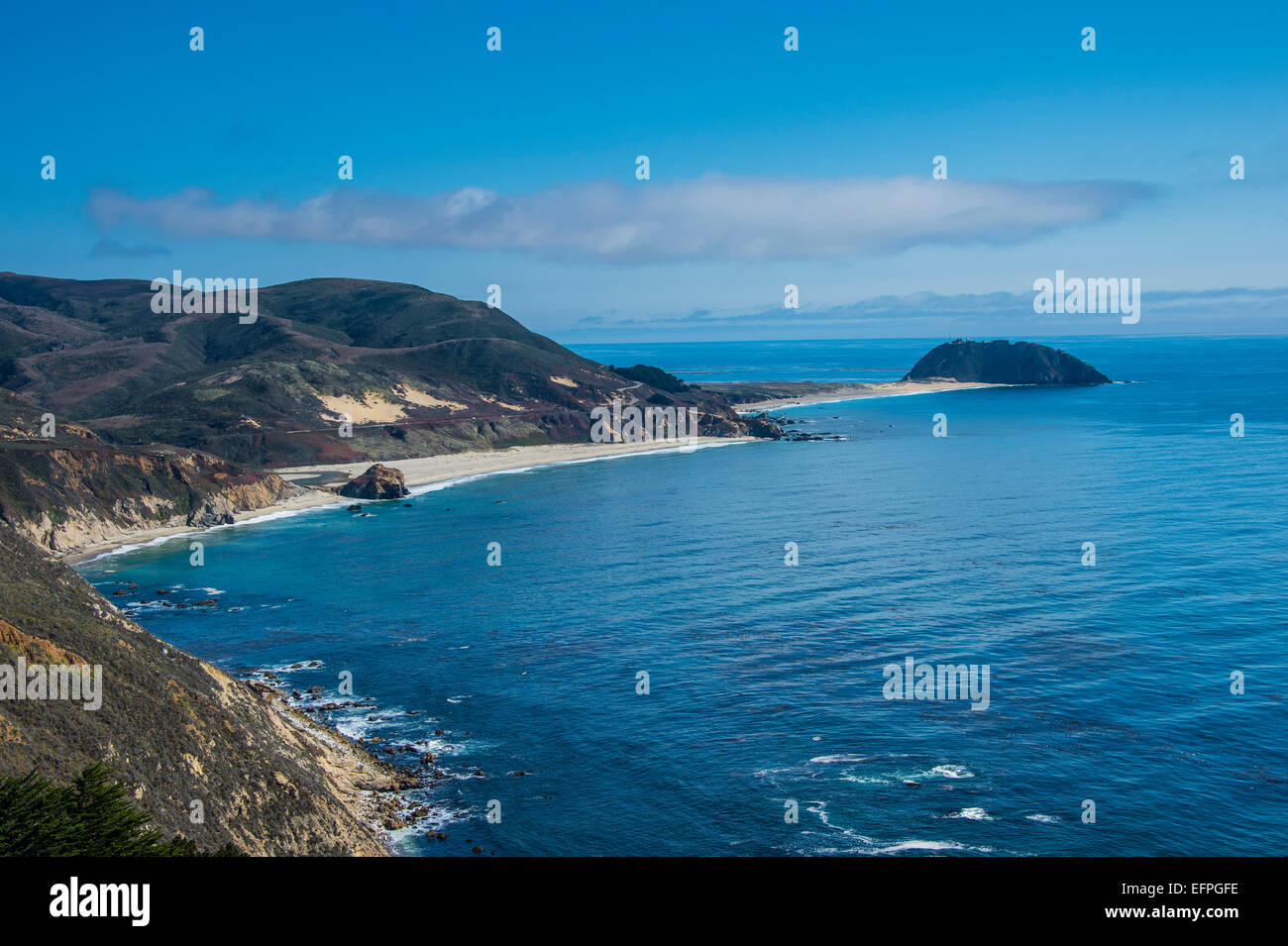 Sandy beaches near Point Sur State park, Big Sur, California, USA - Stock Image