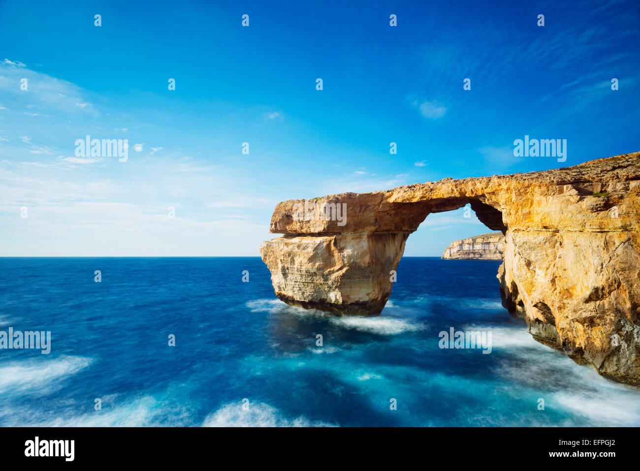 The Azure Window natural arch, Dwerja Bay, Gozo Island, Malta, Mediterranean, Europe - Stock Image