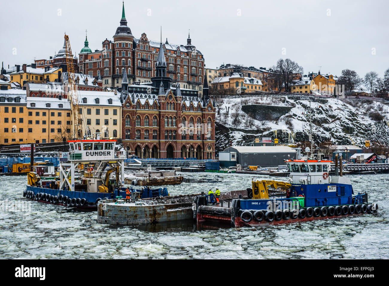 Frozen waterway in the old quarter of Stockholm, Sweden - Stock Image