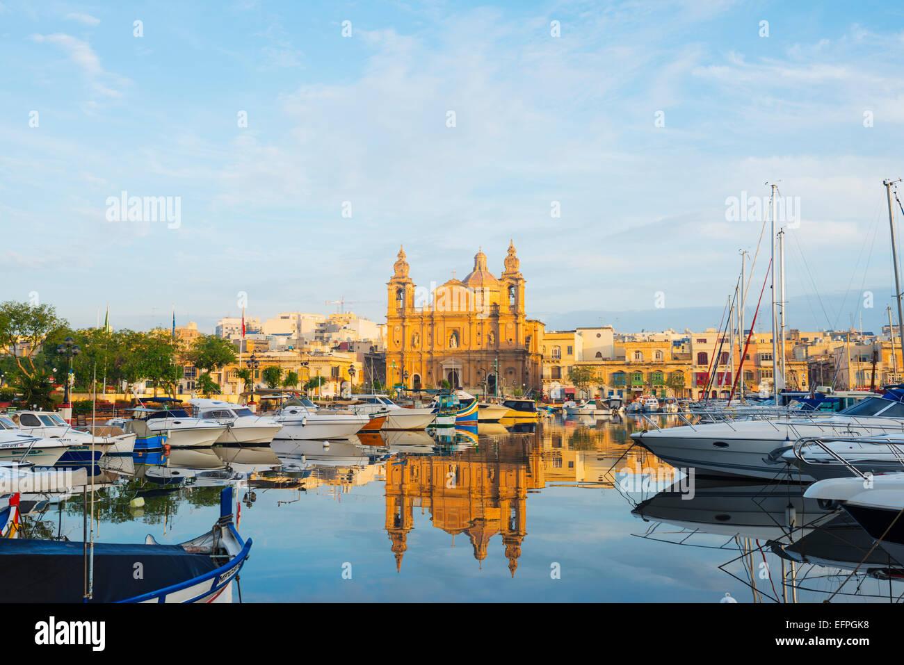St. Joseph's Church, Msida Creek Harbour, Valletta, Malta, Mediterranean, Europe - Stock Image