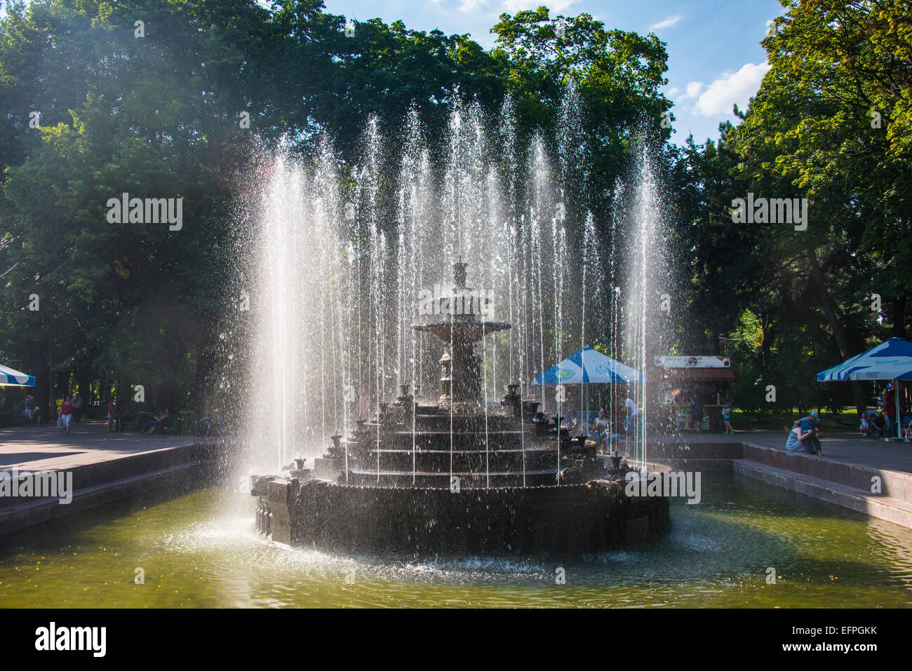 Water fountain in the Stefan cel Mare park in the center of Chisinau, capital of Moldova, Eastern Europe - Stock Image