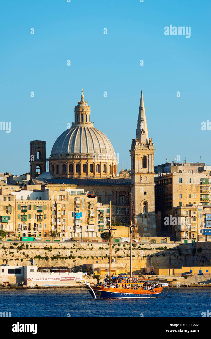 St. Paul's Anglican Cathedral and Carmelite Church, Valletta, Malta, Mediterranean, Europe - Stock Image
