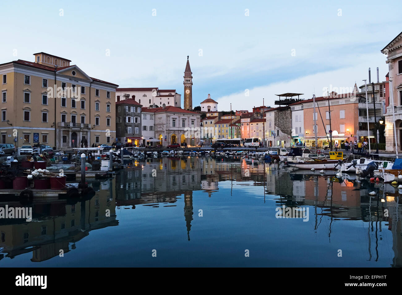 Harbour, Piran, Gulf of Piran, Adriatic Sea, Slovenia, Europe Stock Photo