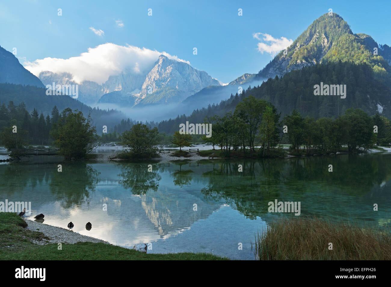 Lake Jasna and Julian Alps, Kranjska Gora, Slovenia, Europe - Stock Image