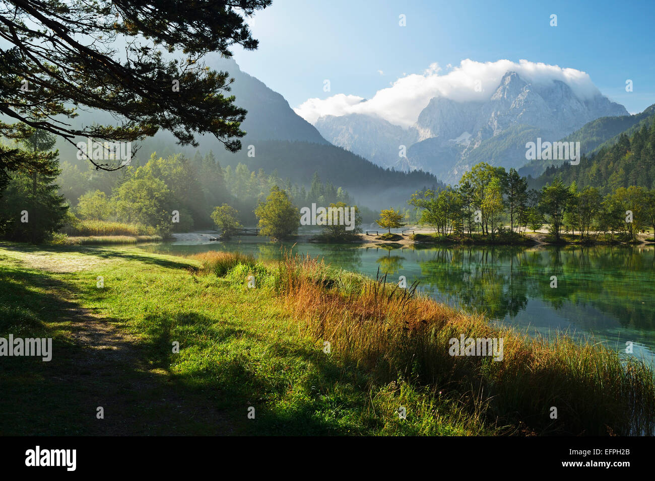 Lake Jasna and Julian Alps, Kranjska Gora, Slovenia, Europe - Stock Image