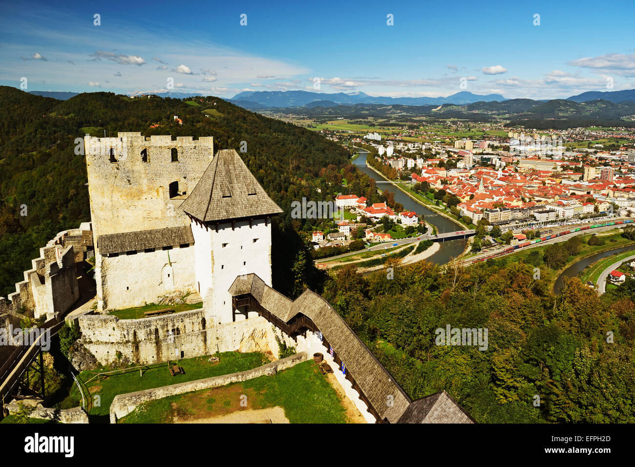 View of Celje Castle and Celje, Slovenia, Europe - Stock Image