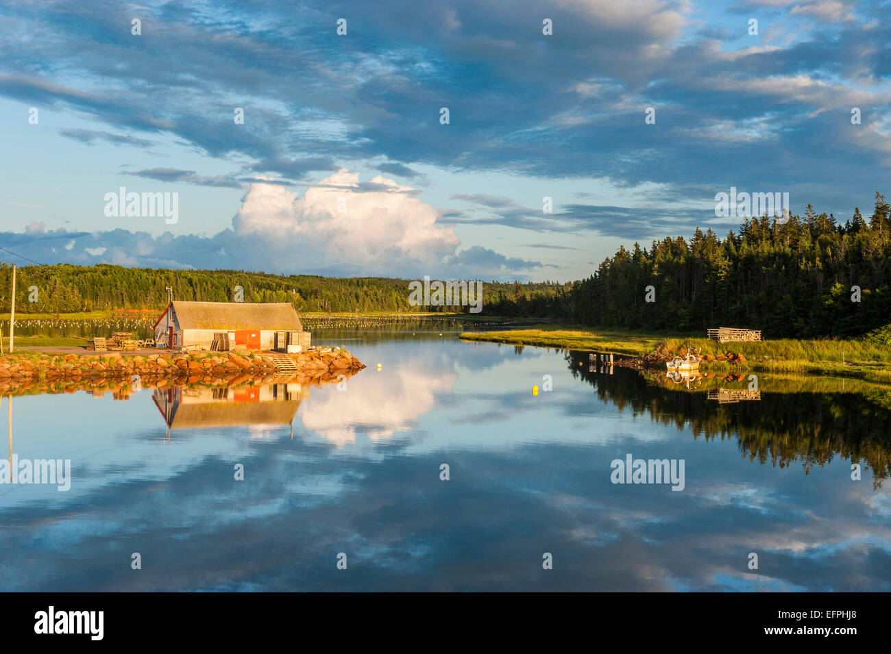 Little hut on a lake at sunset on the north shore of Prince Edward Island, Canada, North America - Stock Image
