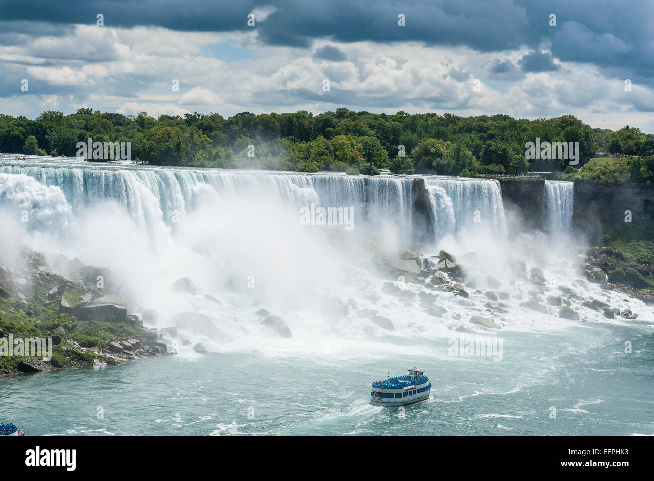 View over the American Falls part of the Niagara Falls, Ontario, Canada, North America - Stock Image
