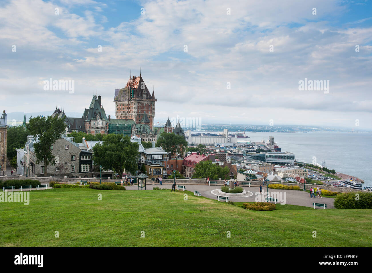 View from the fortifications over Quebec City and the Chateau Frontenac, Quebec, Canada, North America - Stock Image
