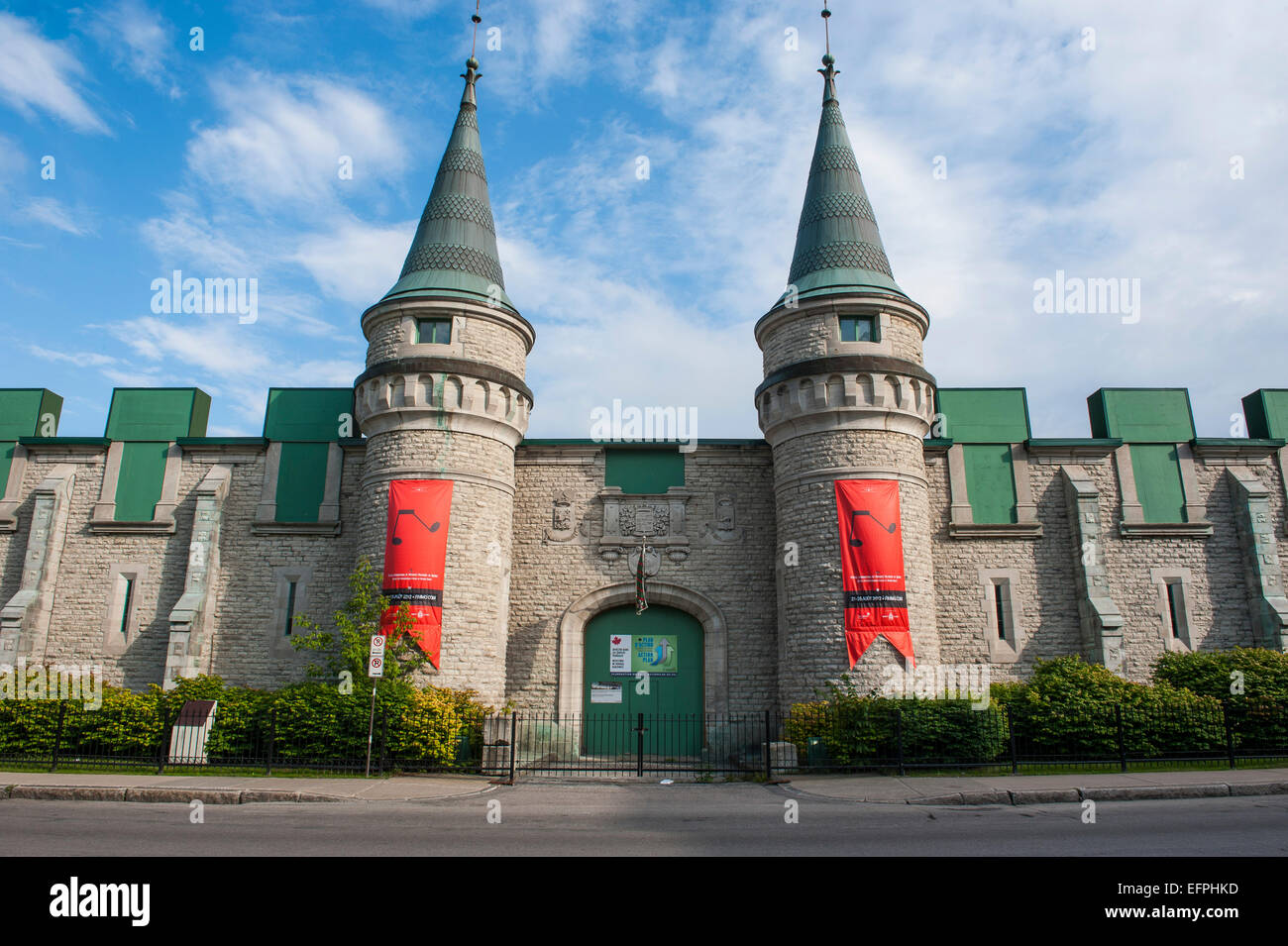 The towers of the Quebec City Armoury in Quebec City, Quebec, Canada, North America - Stock Image