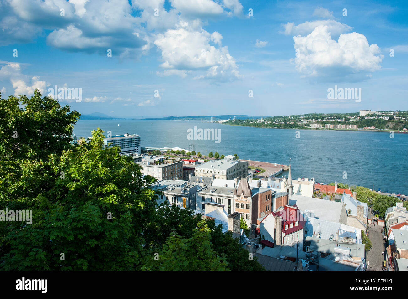 View over the St. Lawrence River, Quebec City, Quebec, Canada, North America - Stock Image