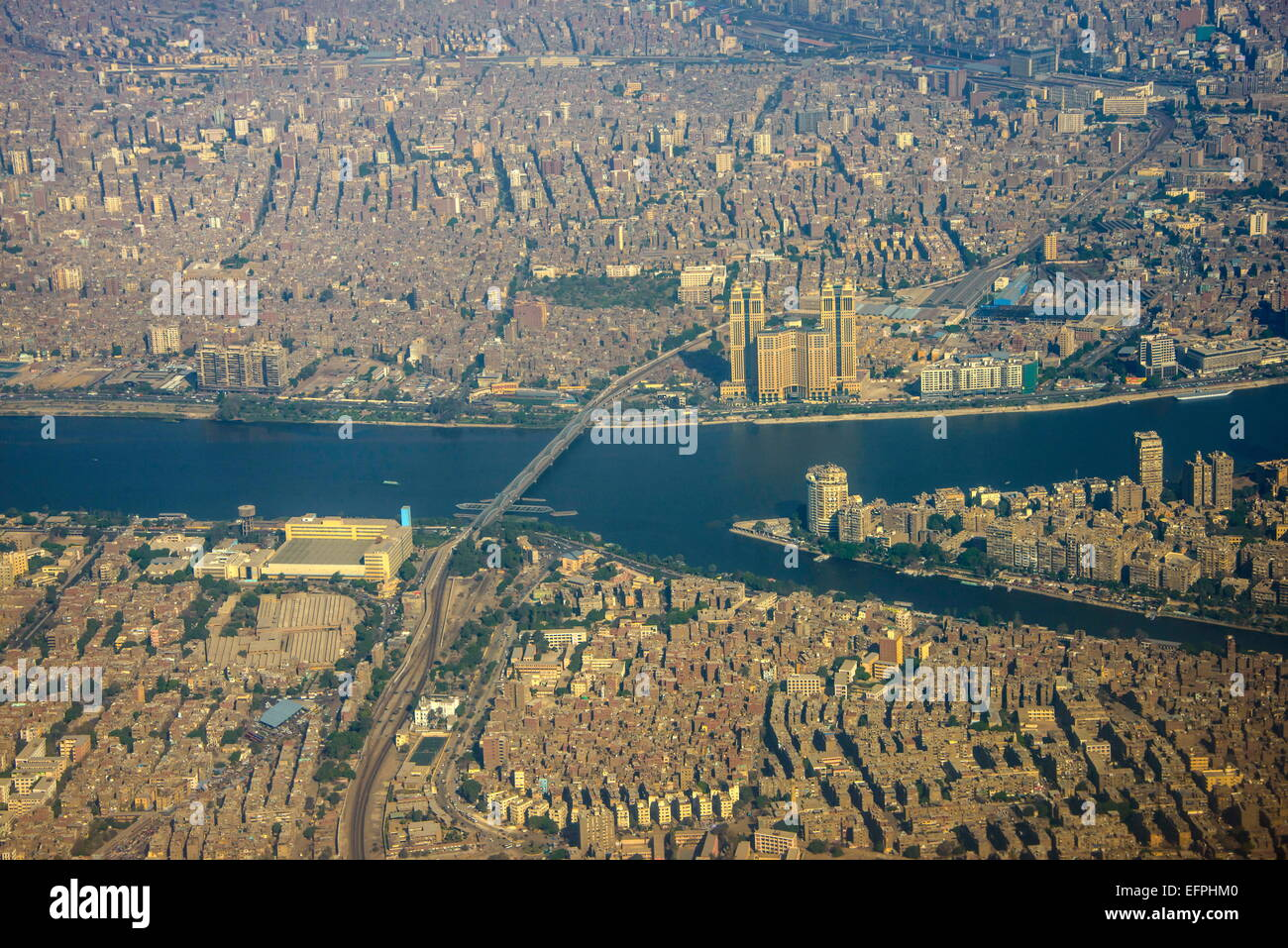 Aerial of the center of Cairo and the River Nile, Egypt, North Africa, Africa - Stock Image
