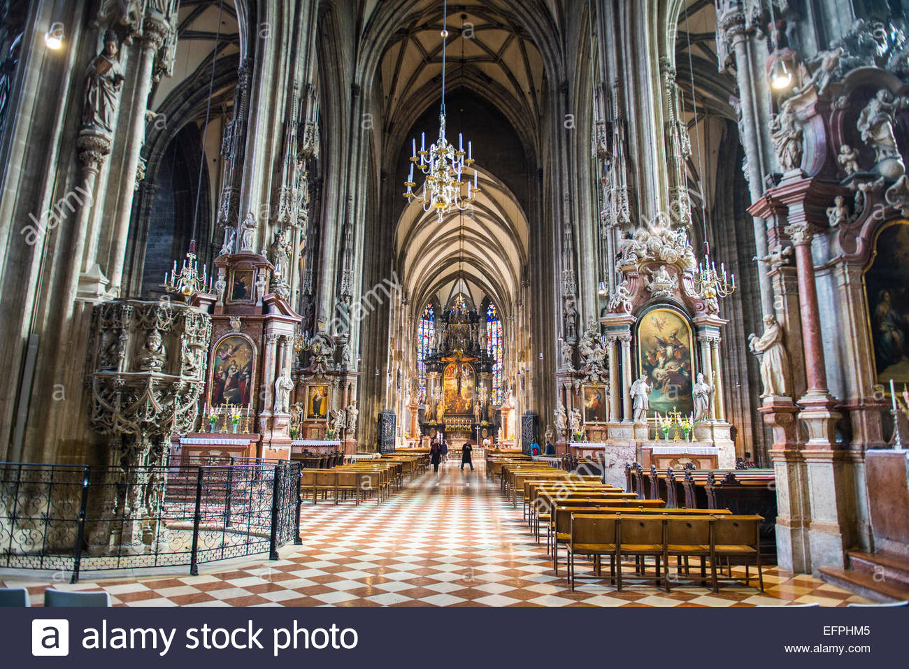 Interior of the Stephansdom (St, Stephen's Cathedral), Vienna, Austria, Europe - Stock Image