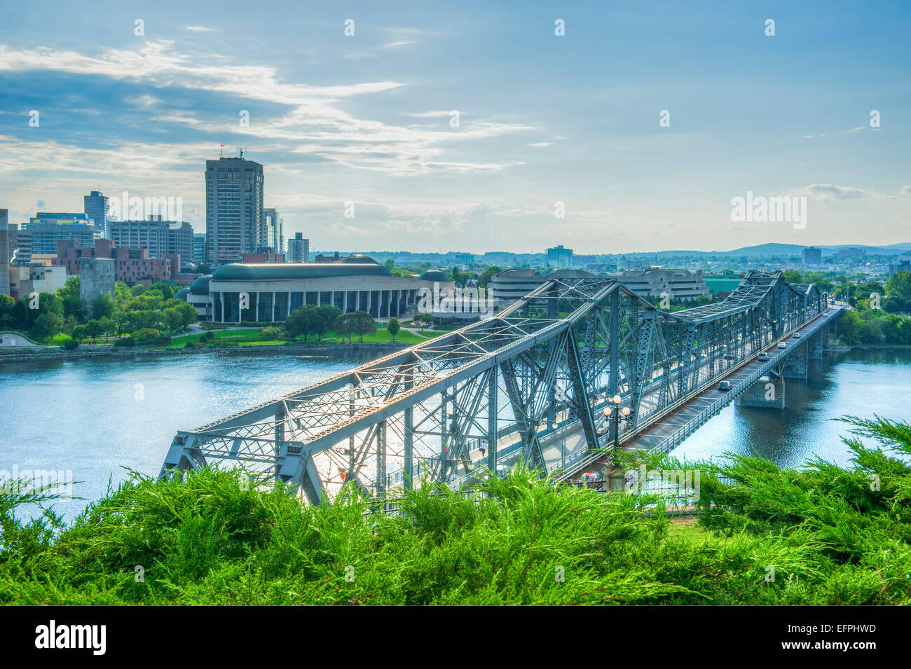 View from Alexander Bridge from Nepean Point, Ottawa, Ontario, Canada, North America - Stock Image