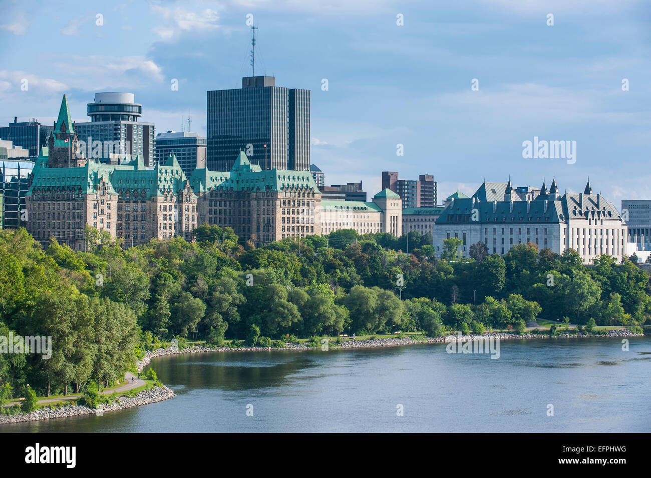 View over Ottawa from Nepean Point, Ottawa, Ontario, Canada, North America - Stock Image