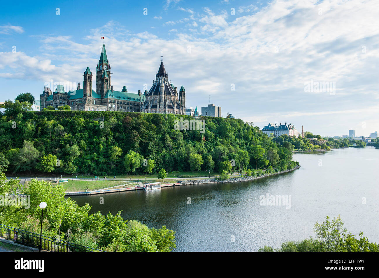 View over Ottawa with its Parliament Centre Block from Nepean Point, Ottawa, Ontario, Canada, North America - Stock Image
