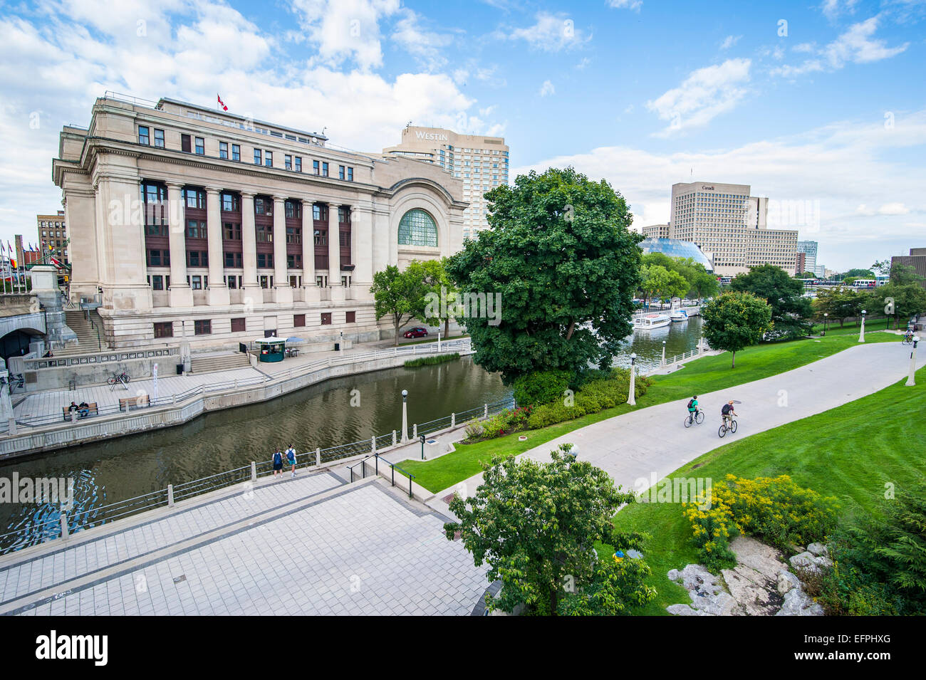Government Conference Center on the Rideau Canal, Ottawa, Ontario, Canada, North America - Stock Image