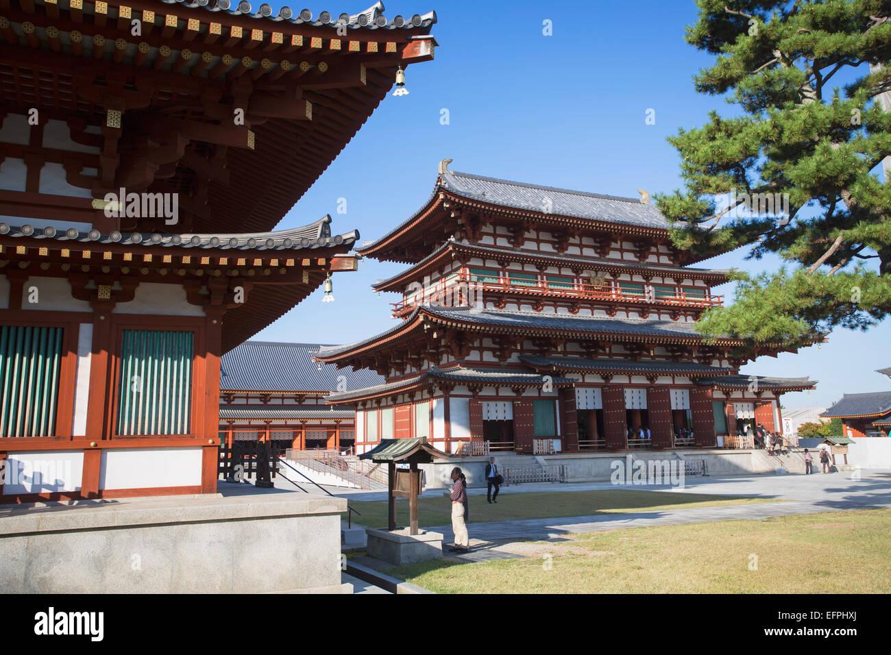 Main Hall at Yakushiji Temple, UNESCO World Heritage Site, Nara, Kansai, Japan, Asia - Stock Image