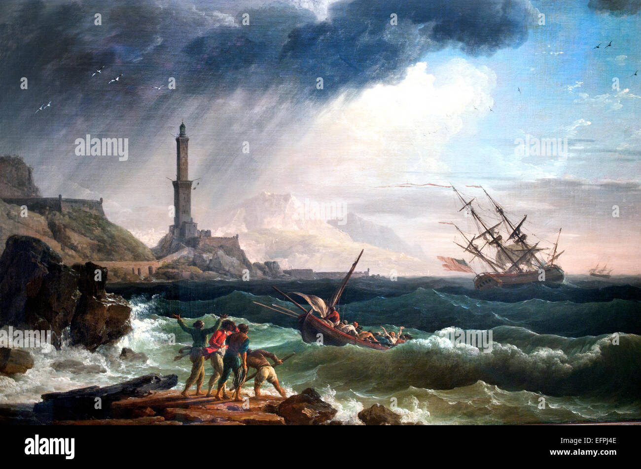ENTRANCE OF THE PORT OF MARSEILLE FRANCE PAINTING BY CLAUDE JOSEPH VERNET REPRO