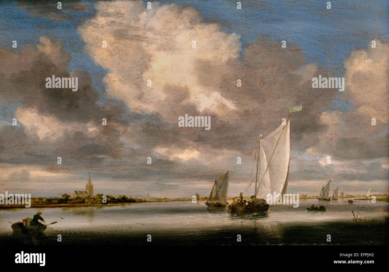 Fishing and Sailing Boats under a Broad Sky 1645 Salomon van  Ruysdael  1600 - 1670 Dutch Netherlands Stock Photo