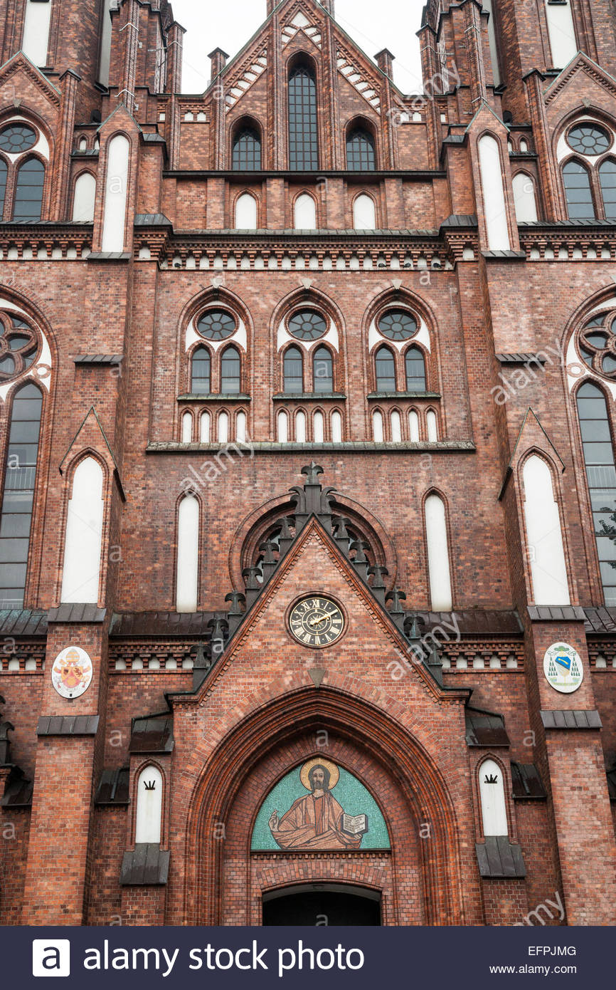 St. Florian Cathedral (St. Michael the Archangel), Gothic Revival exterior, Praga district, Warsaw, Poland, Europe - Stock Image