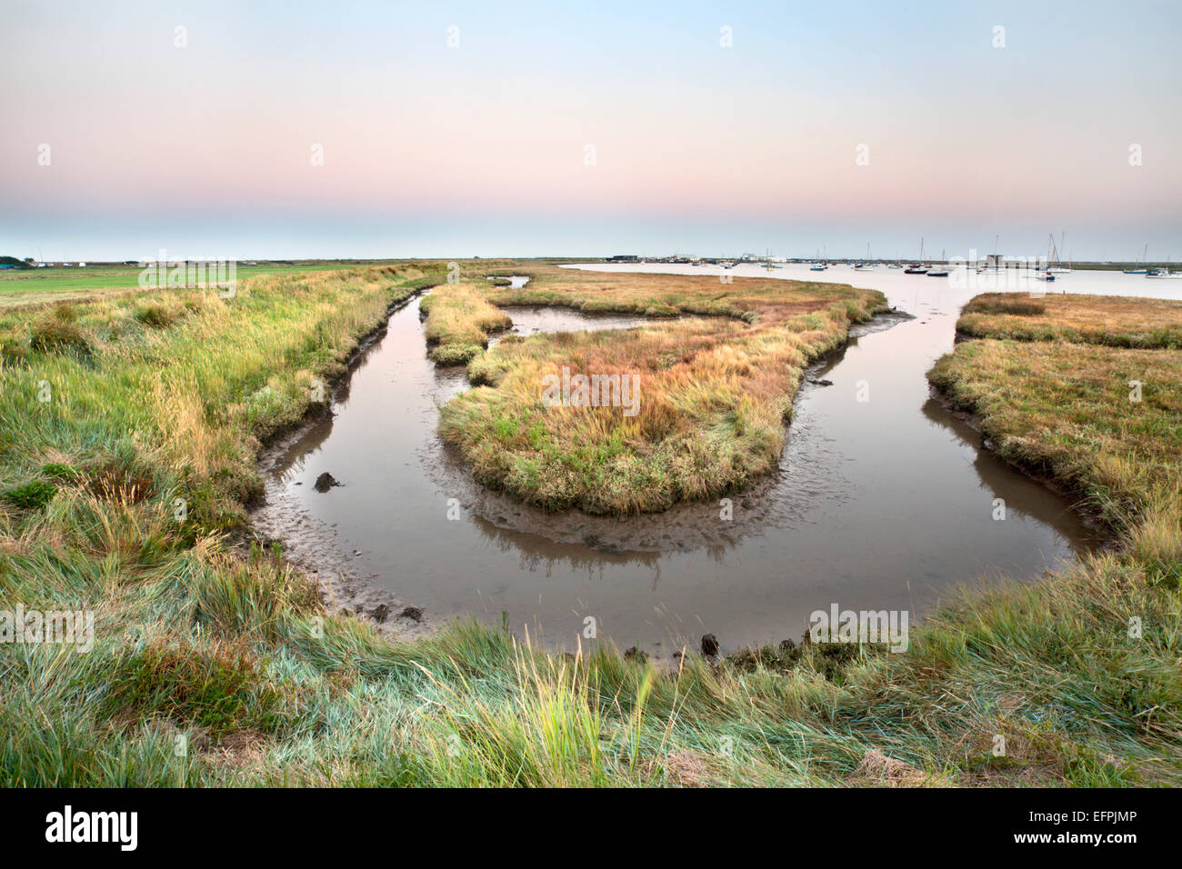 High tide at dusk, Aldeburgh Marshes, Suffolk, England, United Kingdom, Europe Stock Photo
