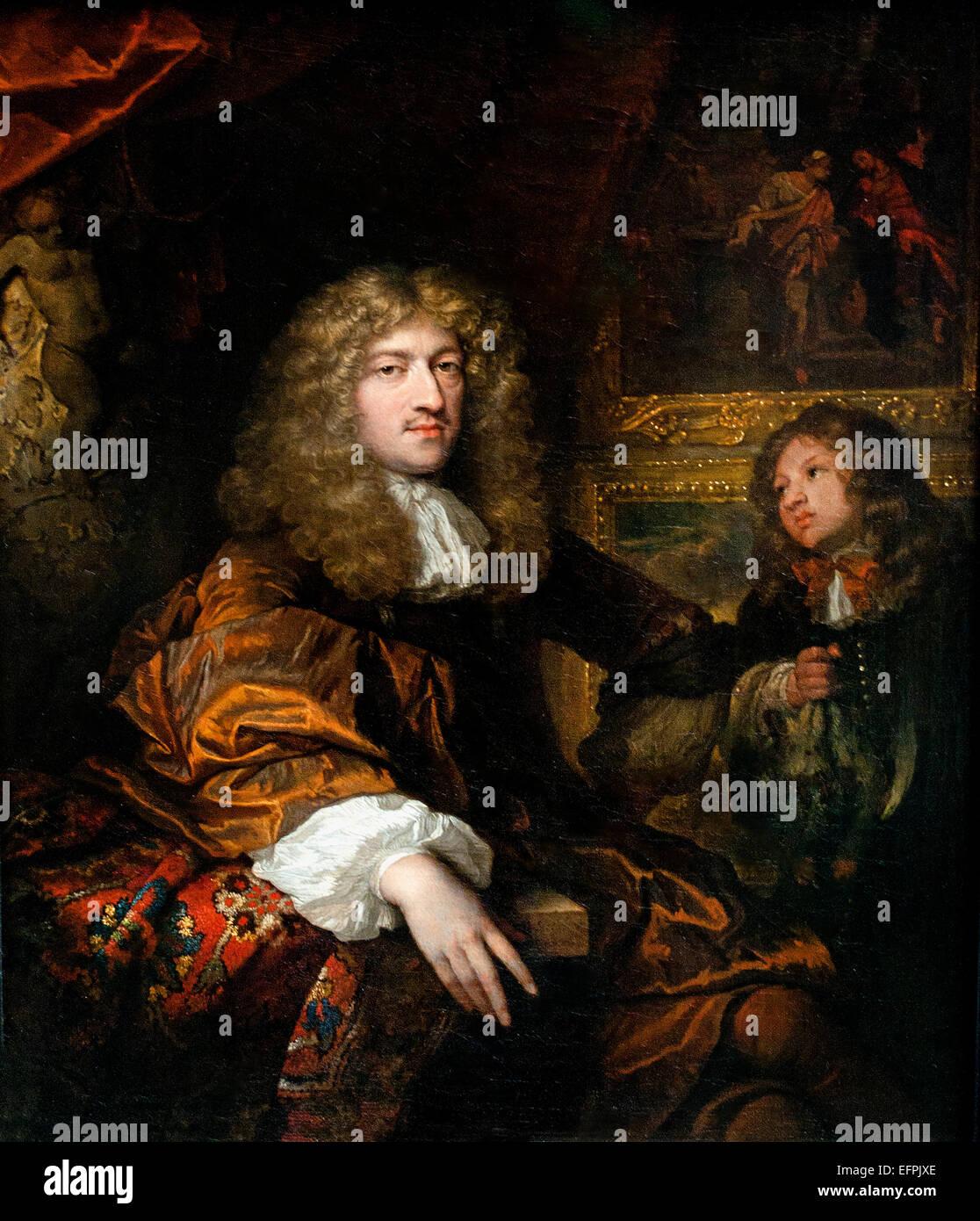 Pieter Six with a Servant Bearing Hunting Booty 1677 Caspar Netscher 1635 -1684 Dutch Netherlands - Stock Image