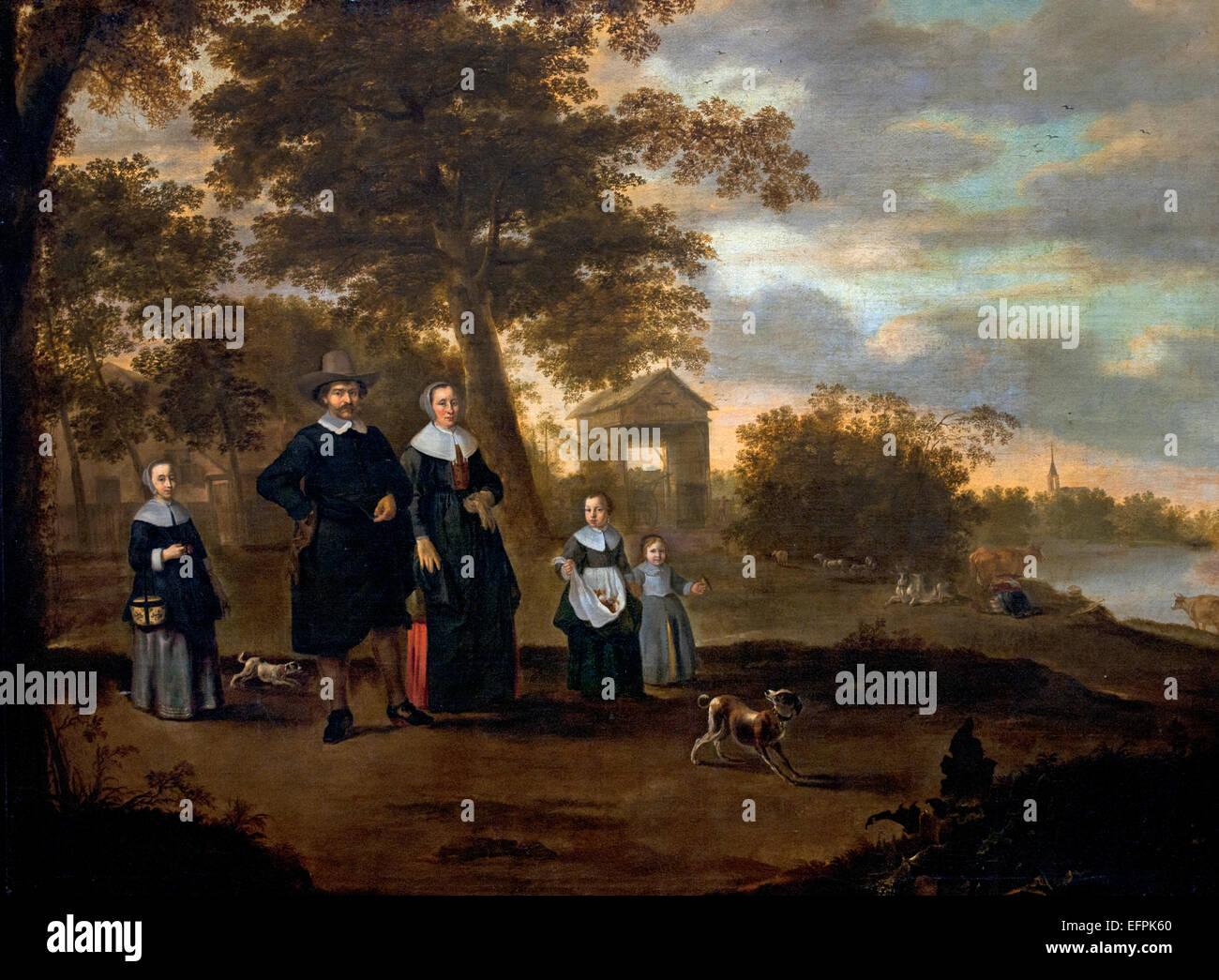 The Family of Preacher Reinier Halma in Langerak on the Lek 1652 Jacob Muller 1625-1673 Jacob Gerritsz van Bemmel - Stock Image