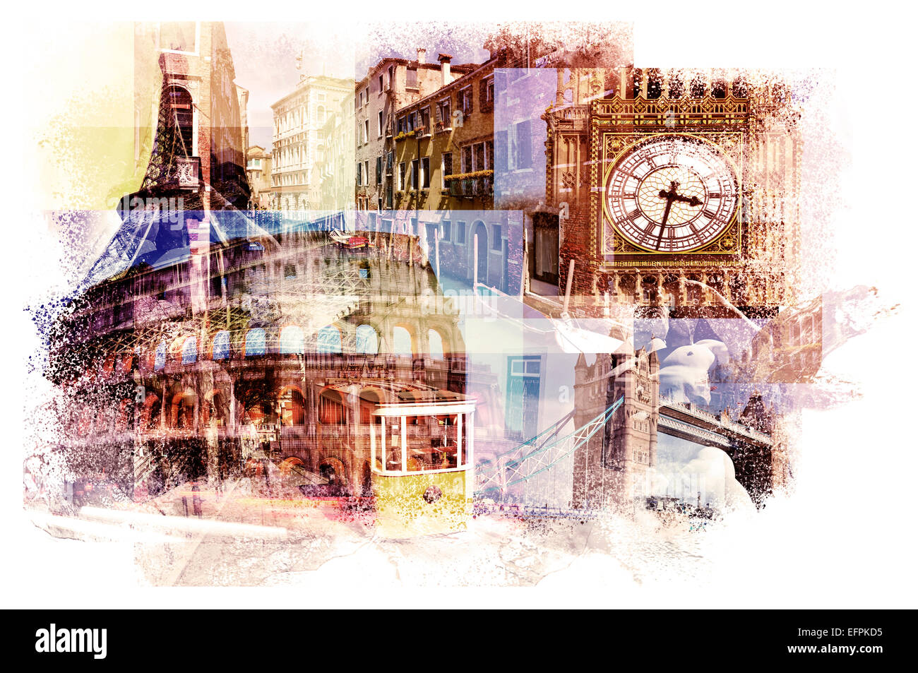 multiple exposures of different european landmarks such as the Big Ben in London, the Eiffel Tower in Paris, the - Stock Image