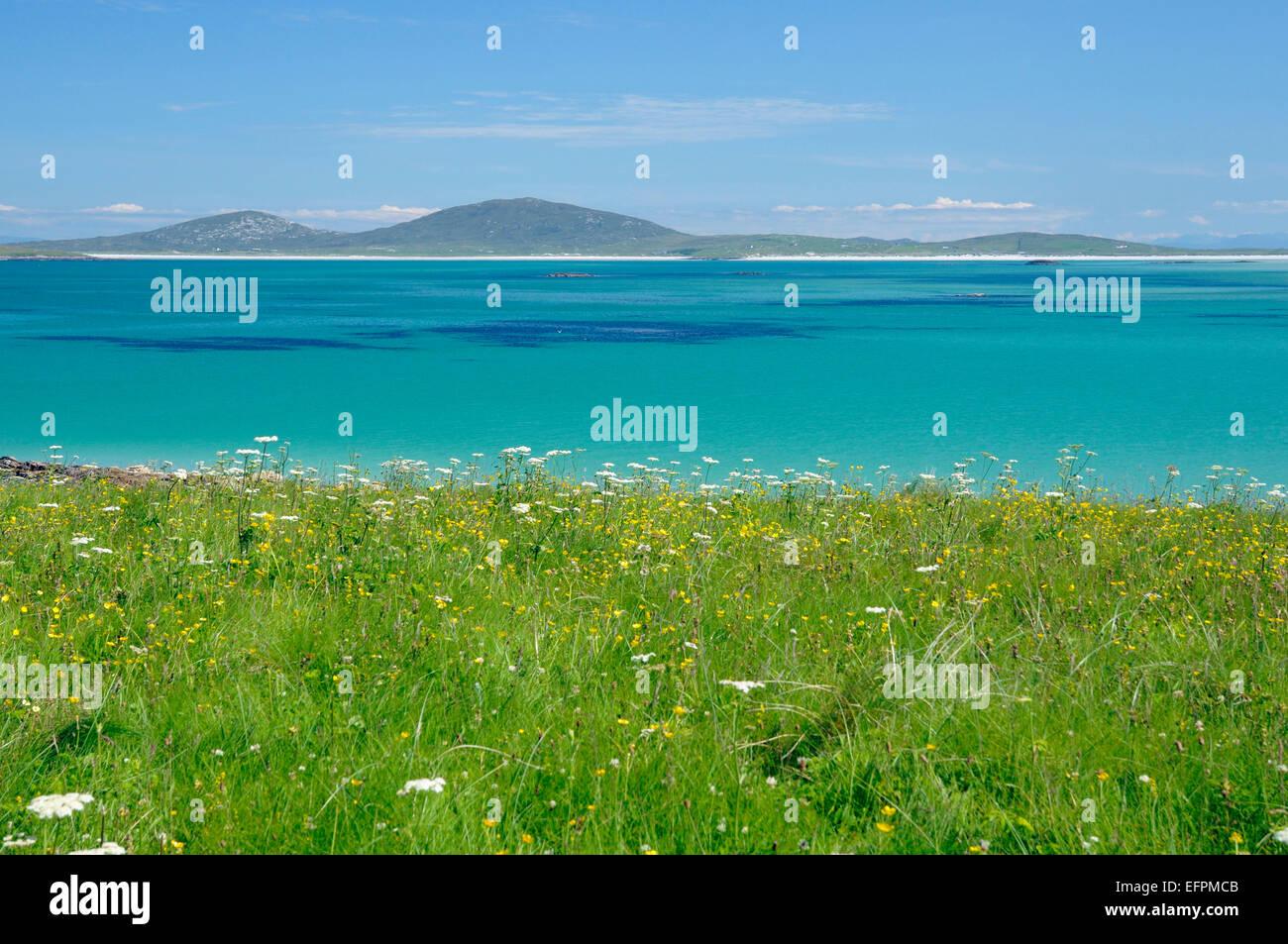 View from Aird a Mhorain, Machair Leathann, North Uist, Outer Hebrides Beach of Traigh Lingeigh & Traigh Hornais, Stock Photo