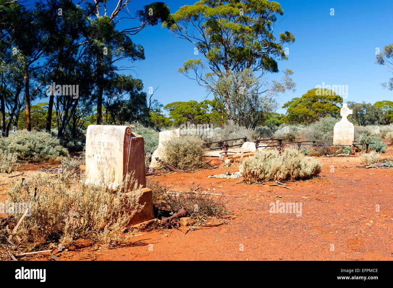 Old graves and headstones in an early settler cemetery at Kanowna, about 20km east of Kalgoorlie, Western Australia. Stock Photo