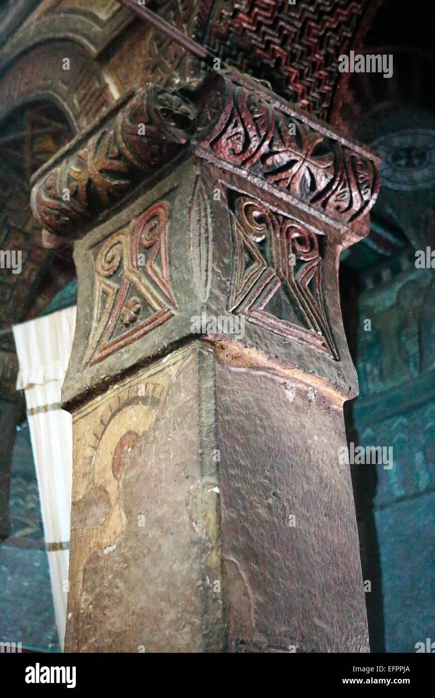 Column in the Bet Mariam church, Lalibela, Amhara region, Ethiopia - Stock Image