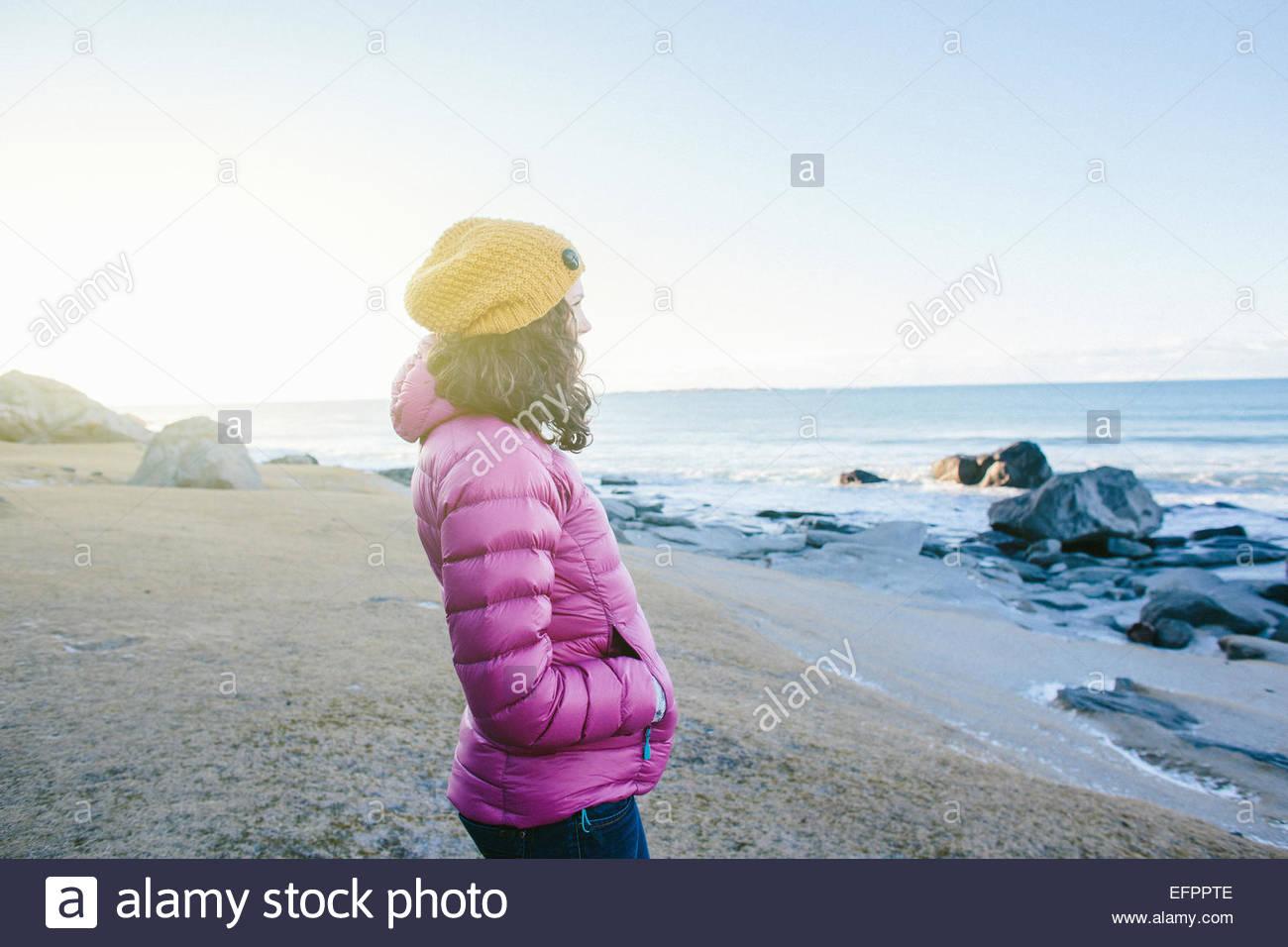 Woman enjoying beach, Lofoten, Norway Stock Photo