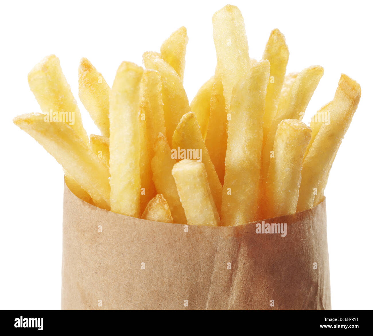 Potato - French fries on a white background. Takeaway food. - Stock Image