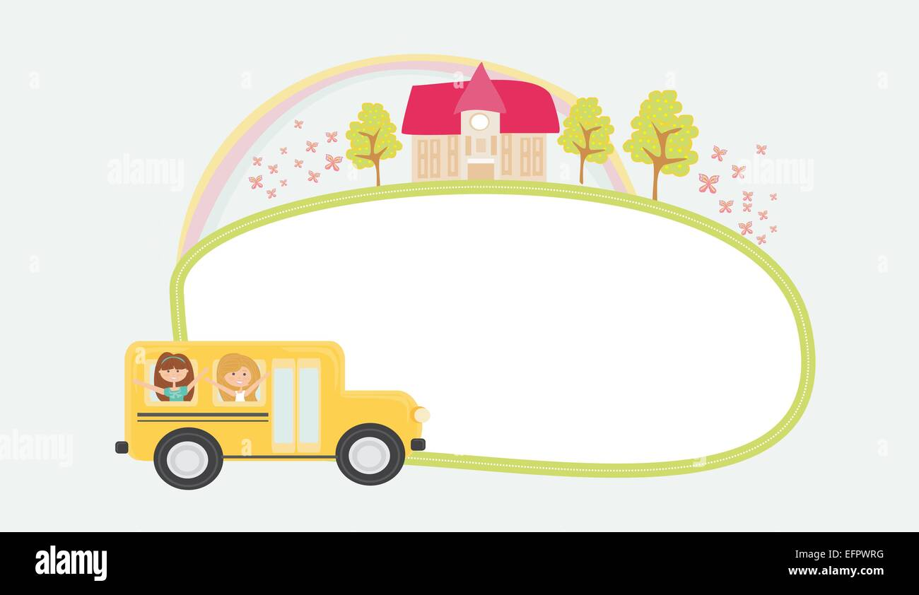 a school bus heading to school with happy children and frame - Stock Vector