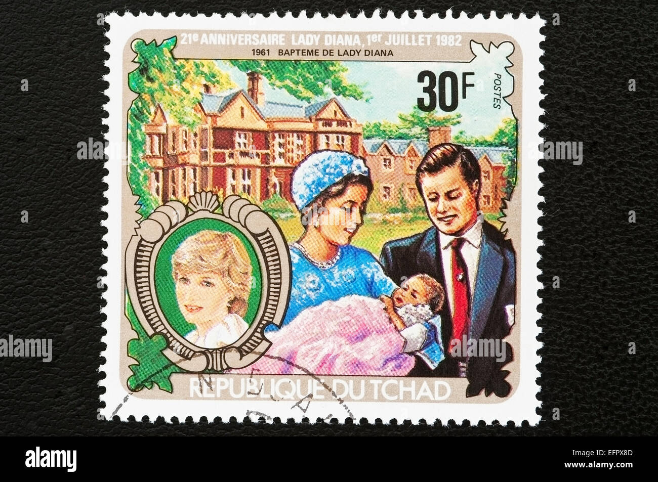 Republic of Chad issued postal stamps for the 21st anniversary of Lady Diana. Republic of Chad is in Central Africa. - Stock Image