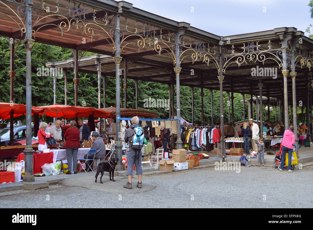 SPA, BELGIUM - JULY 2012:  Brocante, a jumble sale in the Leopold II Gallery - Stock Image