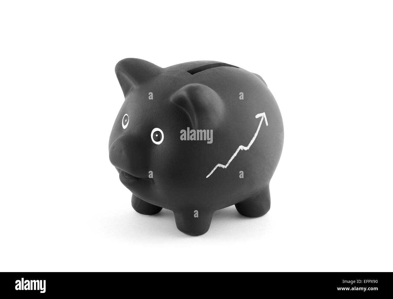 Black piggy bank with chalk graph. Clipping path included. - Stock Image