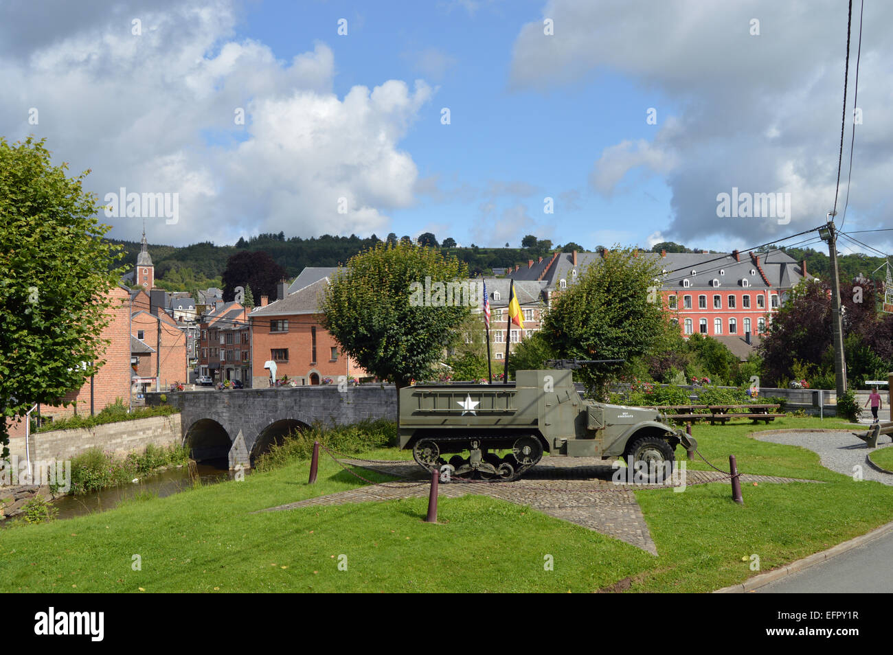 Halftrack, a WW2 Memorial of the 30th Infantry Division - near the bridge of Stavelot, Belgium - Stock Image
