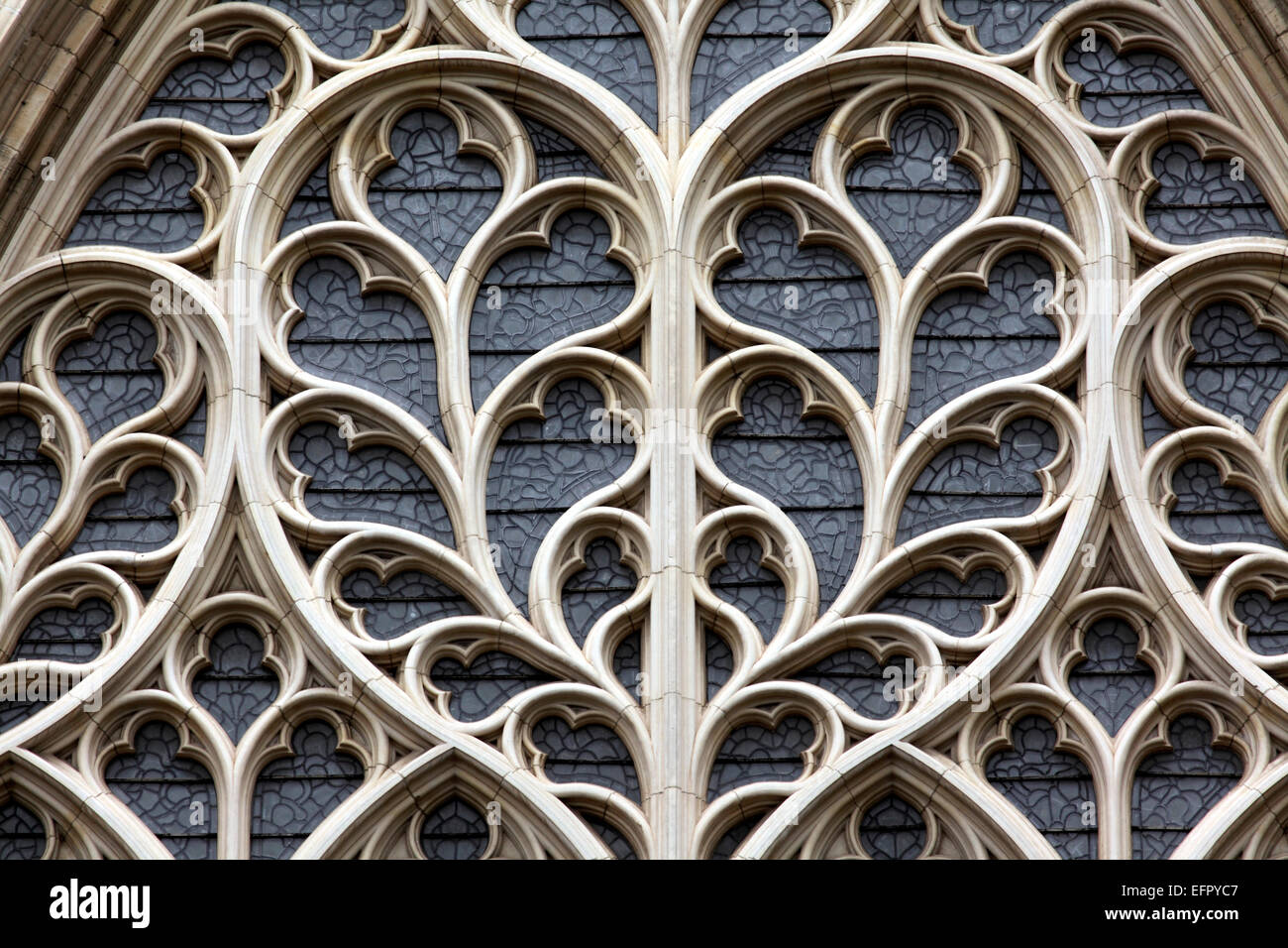 Close up of the stone tracery in the west window of York Minster. (Photo taken from the outside.) - Stock Image