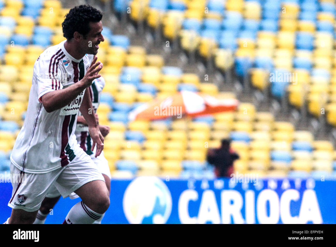 Rio de Janeiro, Brazil. 8th February, 2015. Fred, foward of Fluminense, during the match with Bangu FC on Sunday Stock Photo
